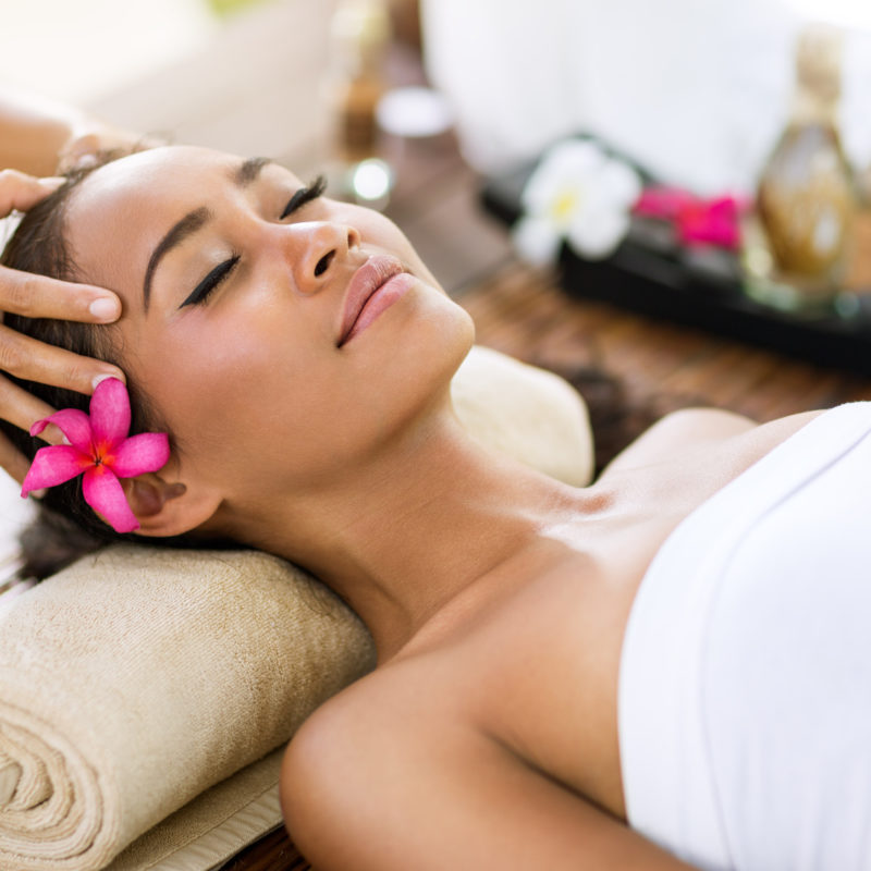 spa treatment  massage of head like stress removing